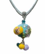 bijoux animaux grenouille verre bleu jaune : Collier Adorable grenouille