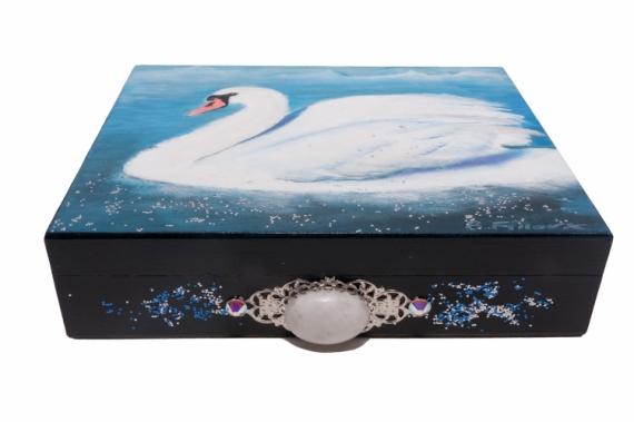 BOIS, MARQUETERIE cygne boite bois pierre de lune Animaux  - Coffret Le cygne blanc