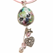 bijoux fleurs fleur verre rose nature : Collier le jardin extraordinaire
