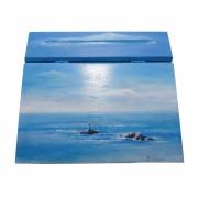 bois marqueterie paysages mer bretagne paysage ecritoire : Ecritoire Le belle mer bleue