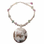bijoux animaux chat nacre aquarelle perles d eau do : Collier Douceur féline