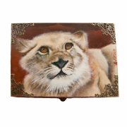 bois marqueterie animaux lion afrique boite peinture : Coffret Félina