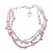 bijoux autres quartz rose pierres fines perles de boheme romantique : Collier Cascade de roses