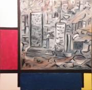 tableau abstrait abstrait ville mondrian city : Manhattan 4