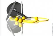 art numerique punaise jaune boules metal : COQUIN DE SORT