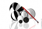 art numerique nature morte bols buren rayures noir et blanc : HOMMAGE A BUREN