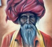 dessin personnages homme turban : L'HOMME AU TURBAN ROUGE