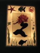 ceramique verre marine poissons sirene lampe mer : Bac lumineux sirène en verre fusing