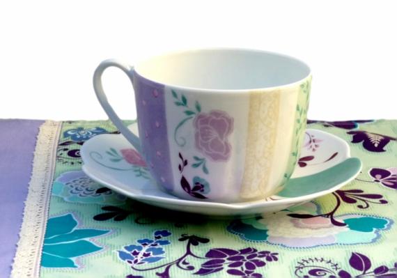 CéRAMIQUE, VERRE bol déjeuner arts de la table tasse de déjeuner en tasse et sous tasse  Fleurs  - Tasse et sous tasse Déjeuner