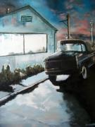 painting scene de genre etatsunis voiture nuit : De nuit