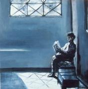 tableau scene de genre femme livre attente : Salle d'attente