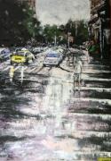 tableau villes ville urbain pluie : Parapluie en ville