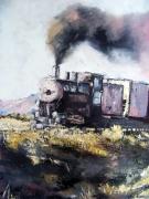 tableau scene de genre train locomotive : Le train