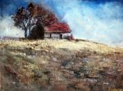 tableau paysages campagne maison champ nature : Maison à la campagne