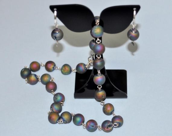 """JEWELRY collier tour de cou boucle d'oreill bijoux Abstrait  - Collier et boucle d'oreille """"Meteors"""""""