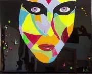 tableau personnages visage couleurs epoxy acrylique : Explosion de couleurs