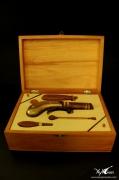 sculpture autres pistolet voyage arme western : Pistolet de poche en coffret et ses accessoires