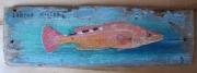 tableau animaux coquette poisson bois peinture bois flotte decoration : Coquette Tableau de poisson sur bois flotté