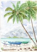 tableau marine pirogues tahiti polynesie lagon : pirogues sur pilotis