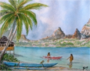 tableau marine moorea tahiti polynesie lagon : MOOREA la baie de Cook
