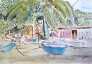 tableau marine pirogues tahiti polynesie pecheurs : plage des pêcheurs