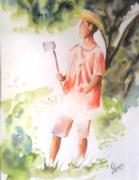 tableau personnages tahiti polynesie pacifique : le coupeur de noni