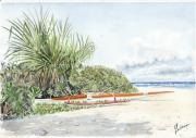tableau marine motu polynesie vaa tahiti : va'a au motu Nono
