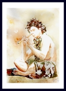 tableau personnages tahiti polynesie maori musicien polynesie : joueur de flûte à nez maori