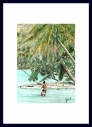 tableau personnages tahiti raiatea polynesie motu : PECHE AU MOTU