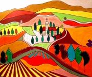 tableau paysages toscane naif vallons et collines achat tableau : DOUCE TOSCANE