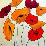tableau fleurs achat tableau naif fleurs coquelicots : PETITE ENVOLEE