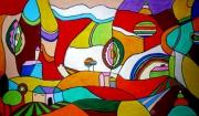 tableau paysages paysage achat tableau abstrait naif : INSENSE CACHE CACHE