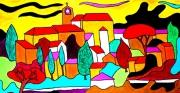 tableau paysages veronique naffetat provence naif avignon : JAUNE ET OR