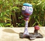 sculpture personnages turquoise verre argile laines feutrees : Le béret turquoise