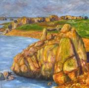 tableau paysages rocher bretagne mer : Rochers Bretons