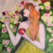 tableau personnages portrait fleurs : Louise 3