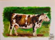 tableau animaux vache normandie campagne : Vache Normande