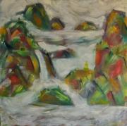 tableau paysages montagne brouillard : Montagnes