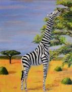 tableau animaux girafe zebre savane afrique : Girafe zébrée