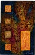 tableau abstrait automne feuilles abstrait mixte : empreintes d'automne