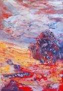 tableau abstrait abstrait mixte maroufle : arbre rouge