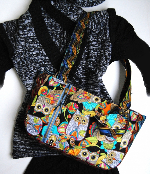 ART TEXTILE, MODE sac coton chouette Animaux  - Sac à main