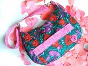art textile mode fleurs fleurs sac ,a main coton rose : sac rose et violet