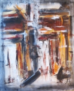 tableau abstrait brun noir blanc gris : Sans titre