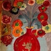 tableau fleurs aquarelle fleursrouge bouquet potdefleur : le vase rouge
