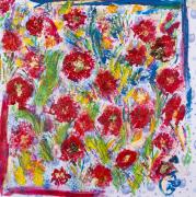 tableau fleurs aquarelle fleurs acrylique creation : Patchwork de fleurs