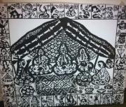 tableau personnages nomade saharaoui desrt maroc : tente noir et blanc