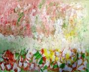 tableau abstrait jardin magique couleus bienetre : PAYSAGE CHAMPETRE 8