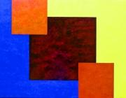 tableau abstrait jouer profondeur couleurs sereinite : 3 CARRES ROUGES