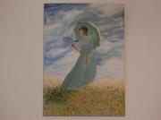tableau paysages ombrelle femme fleurs champ : femme avec ombrelle